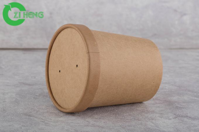 Food Grade Brown Disposable Paper Cups 480 ML Hard Strong For Water / Beverage