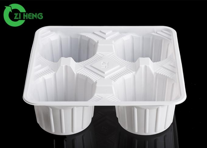 Crack Resistance Disposable Cup Holder Tray For Four Cups 17.6 * 17.6 * 5.1 CM