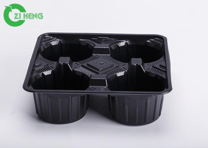 Bottle Coffee PS Plastic Cup Carrier Trays Food Grade White / Black Color