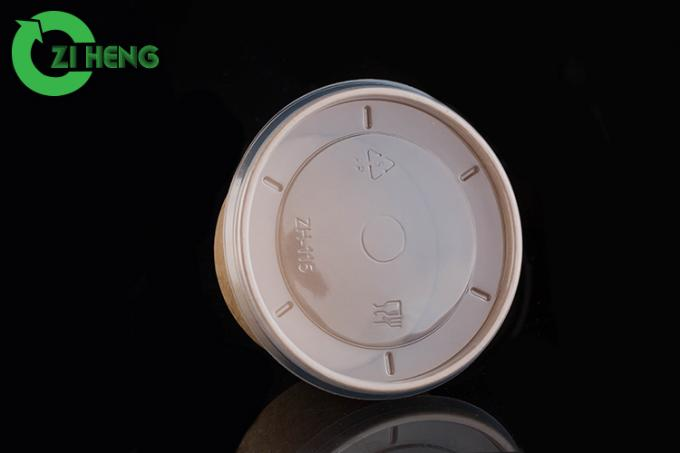 Brown Round Kraft Disposable Paper Bowls With Lids Biodegradable For Noodles