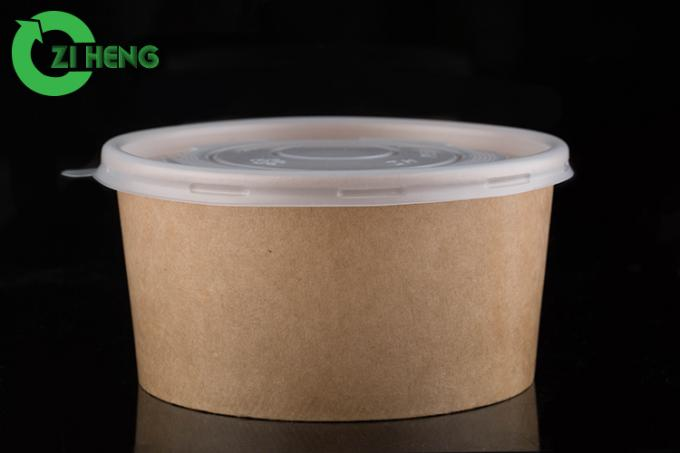 12 Oz Paper Soup Bowls With Lids , Single Wall Large Disposable Bowls No Leak
