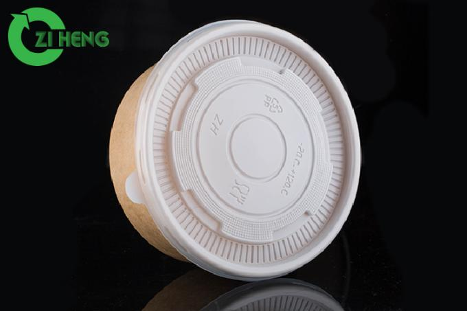 Round Disposable Salad Bowls With Lids , Durable Take Away Paper Serving Bowls