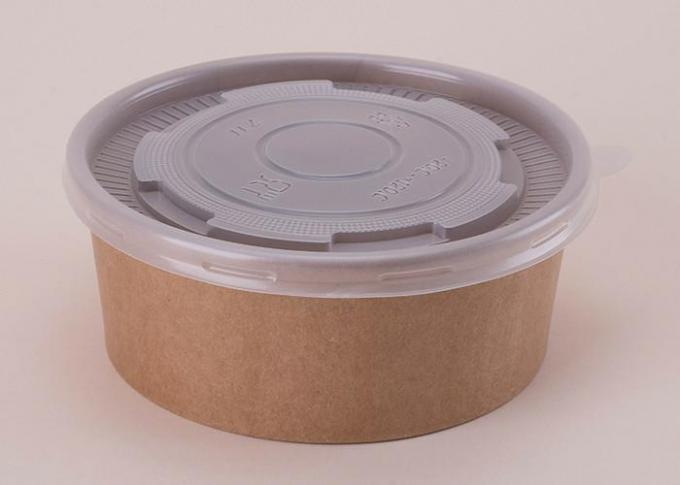Recyclable Disposable Brown Kraft Paper Soup Waterproof Bowl With Plastic Cover