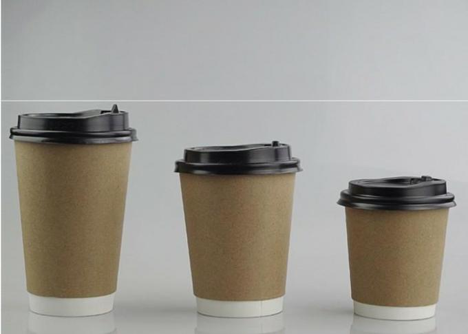 Takeaway Kraft Compostable Hot Paper Coffee Cups , Disposable Espresso Cups