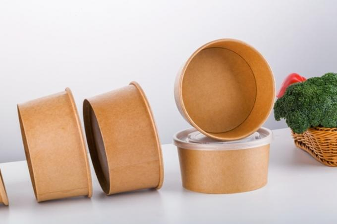 Brown Customized Takeaway Kraft Paper Bowls , Recyclable Paper Salad Bowls