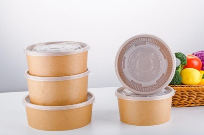 Microwavable Customised Kraft Paper Bowls , Small Paper Bowls With Lids