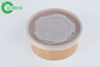 China Custom printed 36oz food grade brown kraft paper fruit bowls with white lid supplier