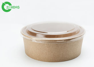 China Logo printed 36oz disposable grease resistant kraft paper food bowls with clear lids supplier