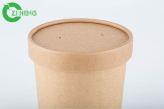 China 350 Ml 40gsm Kraft Paper Cups With Lid Take Away Disposable Paper Soup Cups supplier