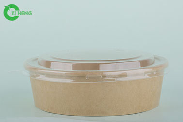 Double Sided PE Coated Disposable Paper Bowls With Lids 500 ML No Leak