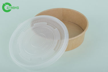 China Kraft Paper Disposable Food Containers Oil Proof 25 Oz With Plastic Lid supplier