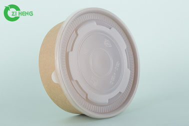 Biodegradable Disposable Paper Bowls With Lids Waterproof 1100 ML For Salad