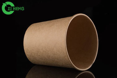 Recyclable leak resistant kraft paper soup cup 480ml for take out