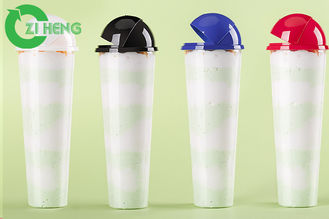 China Crystal Tall Plastic Cup With Cover , Large Disposable Cups For Beverage supplier