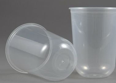 U Shaped 500ml PP Plastic Cup , Clear Drink Milk Tea Hard Plastic Cups