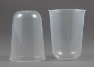 16 Oz Reusable U Shape Clear Plastic Cups Bubble Tea / Juice / Coffee With Lid