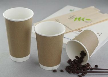 Logo Printed Double Walled Kraft Brown Disposable Cups For Hot Drinks Of Coffee