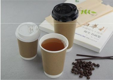 China Takeaway Kraft Compostable Hot Paper Coffee Cups , Disposable Espresso Cups supplier