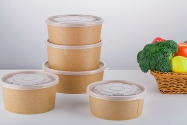 China Custom Disposable Recyclable Paper Lunch Bowls With Lid For Hotel / Household supplier