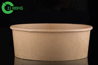 China Double sided polyethylene coating brown kraft paper salad bowl food packaging 1500ml factory